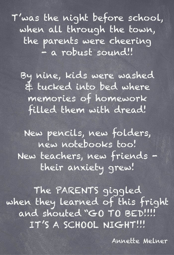 T'was the night before school poem